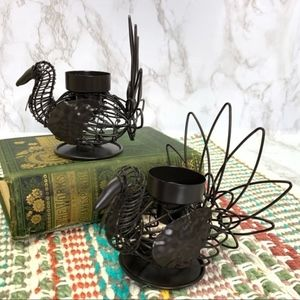 Set Metal Turkeys Thanksgiving Fall Candle Holders